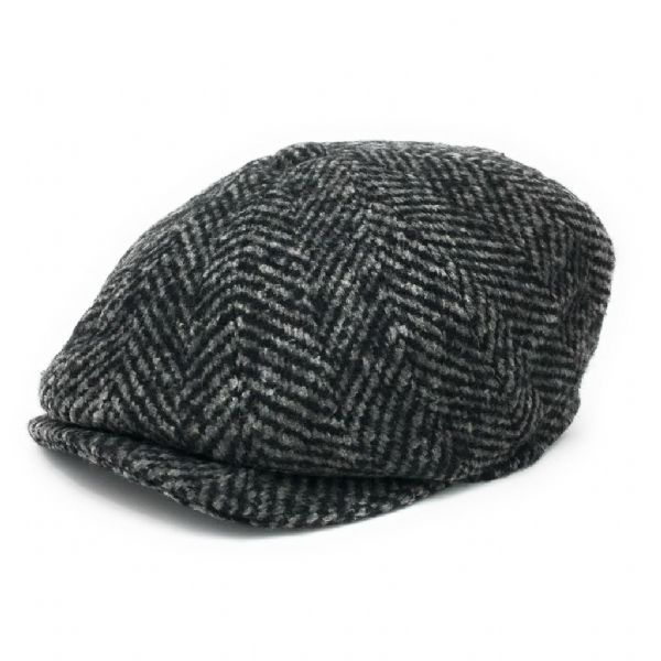 Chunky Tweed Herringbone Newsboy Cap (Grey)